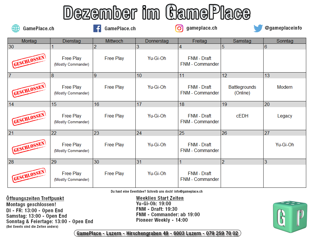 Events im GamePlace
